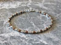 Tiny Silver & Bronze Hematite Cubes Bracelet With Sterling Silver Beads | Silver Sensations